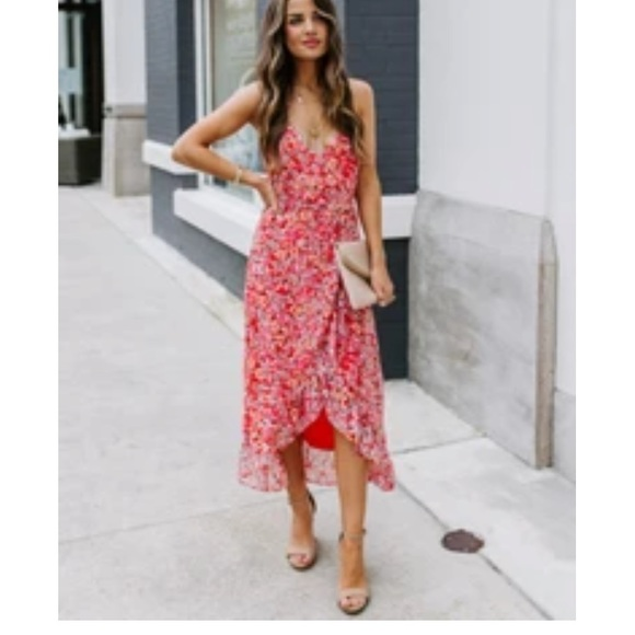 VICI Spring Showers Floral Ruffle Wrap Midi Dress
